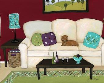 Pampered Dachshund dog art print