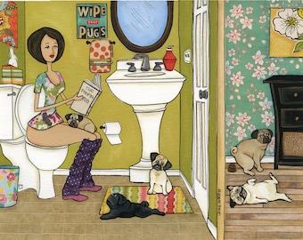 The Poopin Pug, dog art print