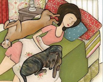 Greyhound Cuddles, art print