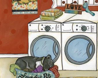 Laundry Pit, pitbull art print