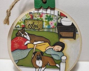 Boxer Love ornament