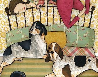 Coonhound Cuddles- original mixed media painting