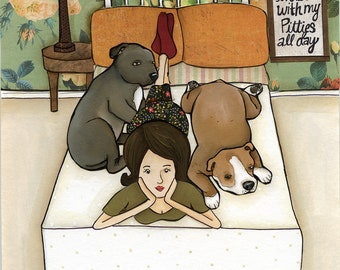 Pitties All Day- original mixed media painting