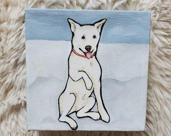 Snow Dog, handpainted original canvas