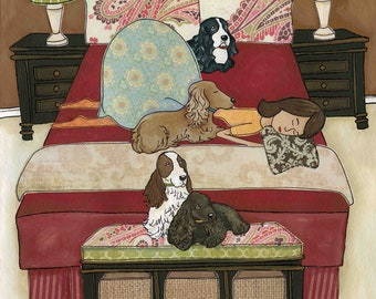 Sleeping With Her Cocks, Cocker Spaniel dog art print