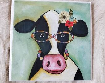 Janice Cow coaster