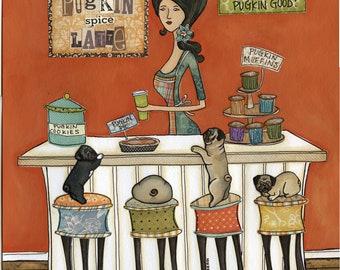 Pugkin Good, pug art print