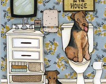 Airedale's Seat- original mixed media painting