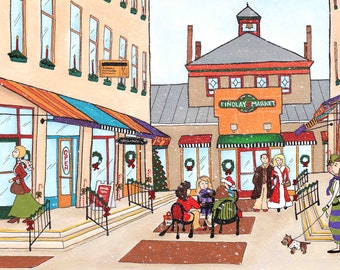 Holidays at Findley Market, art print