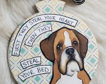 Boxer, handpainted dog ornament