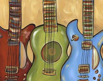Three Guitars, music wall art print