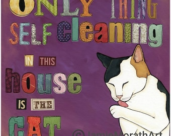 Self Cleaning Cat, art print