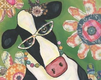 Cow Erma Flower, art print
