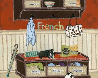 Mud Room Play, French Bulldog, Boston Terrier