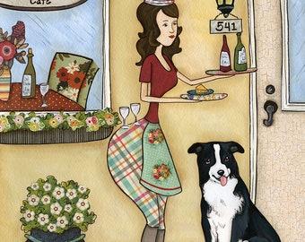 Wine Border Cafe- Original mixed media painting