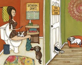 Bathroom Shihtz, art print