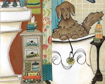 Golden Shower, Golden Retriever dog art print