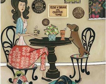 Coffee & Wieners, dachshund art print