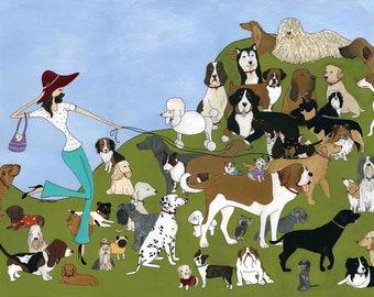 It's a Dogs World, dog art print
