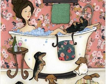 Wiener Wash, dachshund dog art print