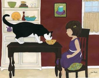 Kitty Got My Milk, cat art print