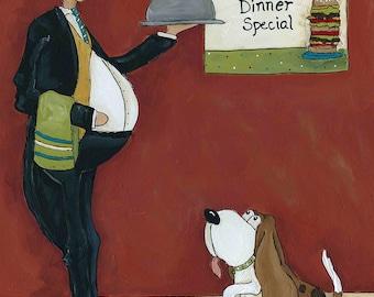 Doggie Dinner Specials, dog art print