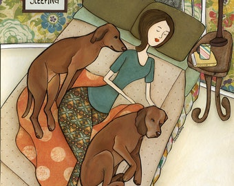 Just Keep Sleeping- original mixed media painting