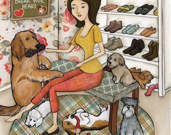 Destroy Your Shoes, dog art print