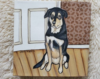 Waiting For You, dog painting on canvas