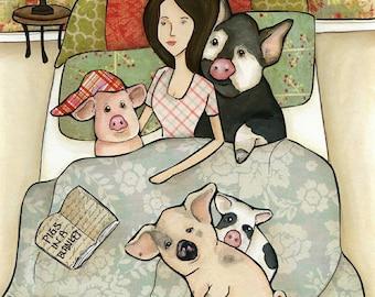 Pigs in a Blanket, art print