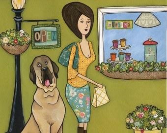 Mastiffs and Muffins- Original mixed media painting