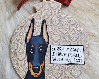 Doberman, handpainted dog ornament