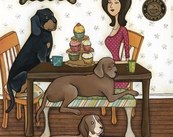 Cupcakes and Coonhounds- original mixed media painting