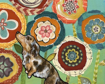 Stop and Smell, doxie art print