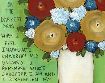 Mom Straighten Crown, flower art print