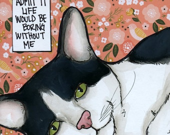 Without Me, cat art print