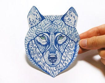 602a0a7ee41f Blue Wolf Face wild animal sticker 100% waterproof vinyl label.