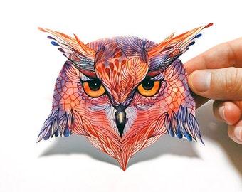 Owl  bird sticker 100% waterproof vinyl label.