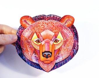 Bear animal sticker 100% waterproof vinyl label.