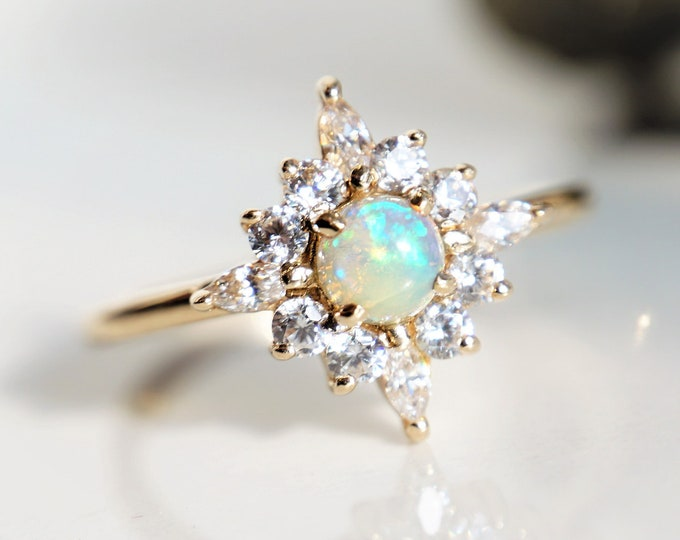 Skylar - Opal solid 14k gold with 0.3 ct Diamond, White Sapphire or CZ, Ethiopian Opal Halo Cluster Ring, Opal Engagement Ring