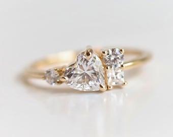 Brie - 14K Heart Moissanite Cluster Ring |  Moissanite Cluster Ring | Heart Engagement Ring