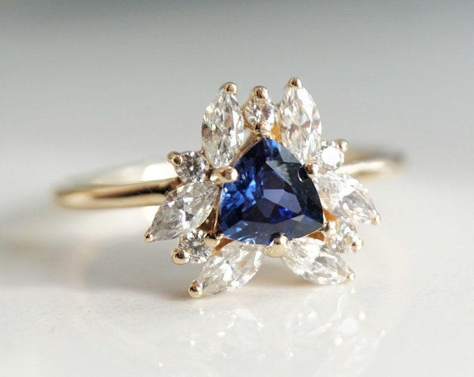 Layla - Blue Sapphire Trillion 14k gold, 0.4 ct Diamond, Blue Sapphire Cluster Ring, Sapphire Engagement Ring, September Birthstone