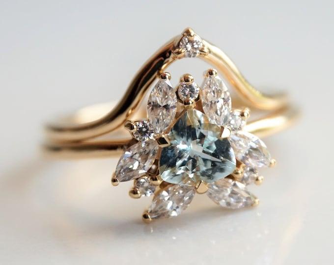 Layla Crown I - 14K Gold Diamond Contour Band, Crown Curved Band, Diamond Stacking Ring, Stacking Wedding Band, Diamond Wedding Band