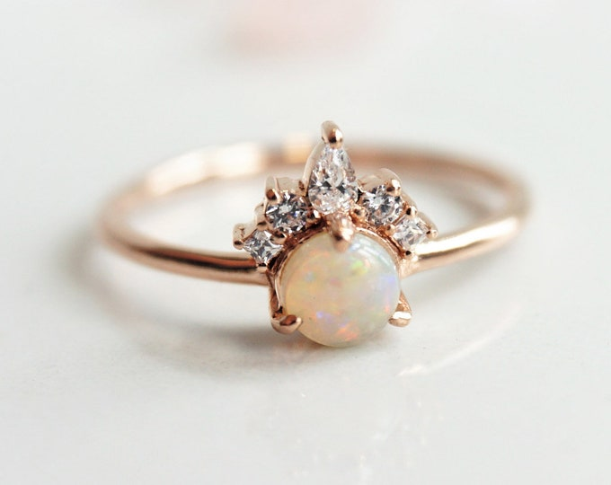 Olivia - Australian Opal Ring, 14k  Opal Crown Ring, Diamond Opal Ring, Opal Engagement Ring, October Birthstone Ring, Coober Pedy Opal ring