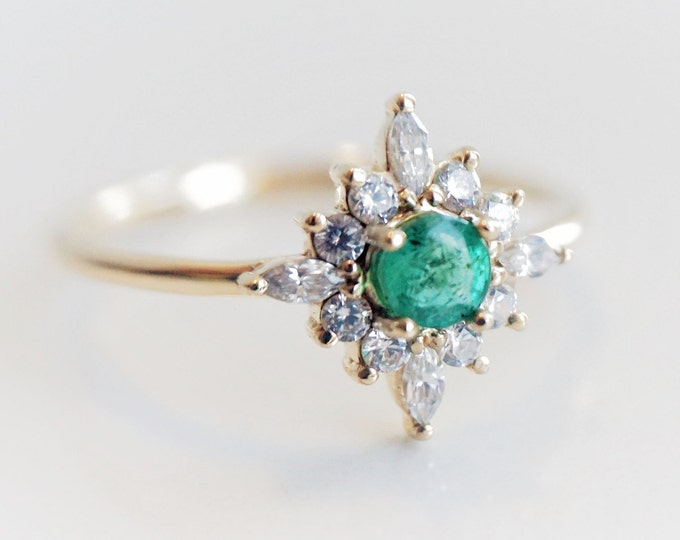Skylar - Natural Emerald solid 14k gold with 0.3 ct Diamond or CZ,  Emerald Halo Cluster Ring, Emerald Birthstone Ring