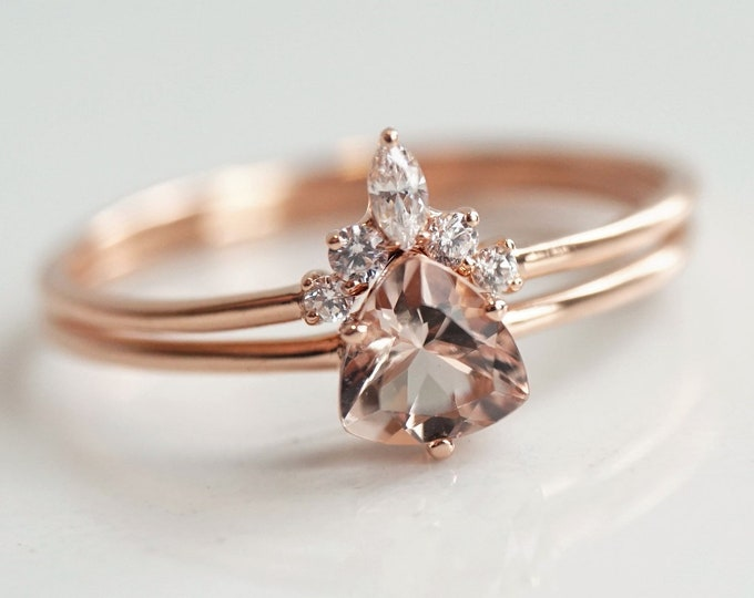 Trinity - Morganite Trillion, 14k Morganite Ring, Morganite Engagement ring, Morganite Rose Gold ring, Morganite Diamond ring