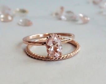 solid 14K Rose Gold Morganite Ring, 7x5 mm Pink Morganite Oval Cut/ Fleur de lis Setting/Engagement Ring Vintage/Rustic Inspired Ring
