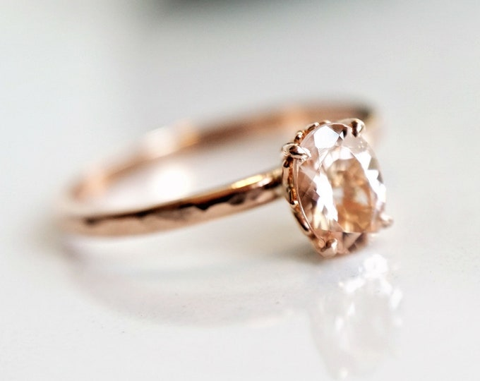 Fleur de lis - Pink Morganite 7x5 Oval, solid 14K Rose Gold Morganite Ring, Smooth Band, Morganite Engagement Ring, Stackable Ring