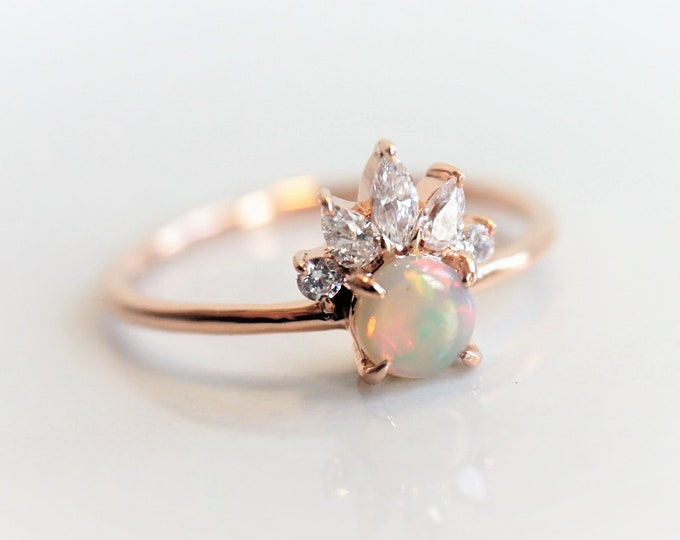 Everett - Australian Opal Ring, 14k Opal Crown Ring, Diamond Opal Ring, Opal Engagement Ring, October Birthstone Ring, Coober Pedy Opal ring