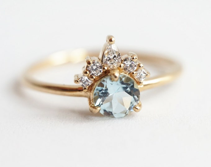 Olivia - Round Aquamarine 14k Gold Aquamarine Crown Ring, Dainty Diamond Aquamarine Ring, Unique  Engagement Ring, March Birthstone